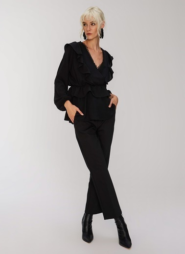 People By Fabrika Fırfır Detaylı Bluz Siyah
